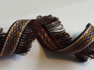 Brown Orange Navy Tassel Woven Ribbon