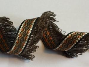 Brown Orange Purple Tassel Woven Ribbon