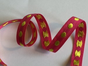 Gold Pink Polyester Woven Ribbon