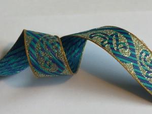 Metallic Green Navy Woven Ribbion