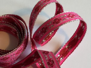 Silver Metallic Pink Flower Woven Ribbion