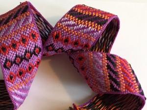 Vintage Purple Red Black Woven Ribbon