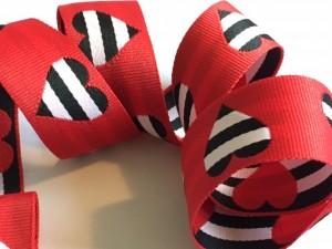 Woven Heart Red Black White Ribbon